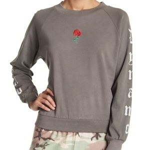 Wildfox Dynamo Junior Rose Embroidered Sweatshirt